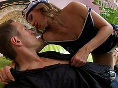 This blonde bitch has gone crazily insane, as her guy plays with her small boobs and her appealing cunt, beneath her panties. After sucking her hard nipples, this horny guy puts her ass on the couch and keeps licking her clit. He fingers that pussy as well, in want of some love juice, that he can lick.
