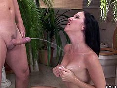 Lusty bitch with filthy pissing fantasies realizes her dreams in the bathroom