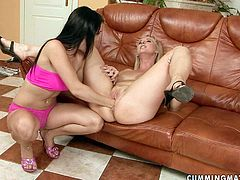 Nasty mommy is drilling her cunt with fat dildo solo masturbating in dirty 21 Sextury porn clip. Then, brunette hooker joins her on set performing x-rated fisting porn scene.