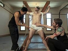 Muscular Kurt Von Ryder gets tied up with ropes by some gays. Then these dudes give a blowjob and a handjob to Ku