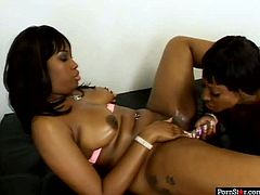 Provocative black MILF with big booties but small tits are going wild and dirty in kinky lesbian sex session. One drills wet pussy of another pleasing her well.