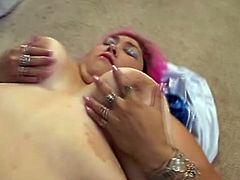 Ugly fat slut is on the floor with her legs wide open and ready for huge dildo, she is so horny when her friend destroys her vagina.