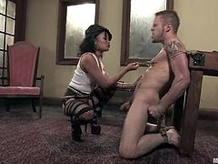When Annie Cruz is in BDSM, you'd better expect some wild action! She plays with his cock using tools and it gives him so much pain!