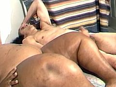 Horny brown BBW slut with huge tits and big fat ass getting her wet pussy fucked doggystyle by a horny guy with a big cock.