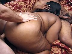 Very hot Bbbw enjoys good threesome sexy with two horny big  cocks in this hot interracial threesome.This hot ebony woman sucks big black candy while the other hard white cock drills her black pussy from behind.