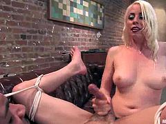 Sexy blonde mistress Lorelei Lee wearing stockings is punishing naughty boy called Rico. She whips him with a lash and then fucks the guy in cowgirl position.