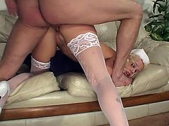 Damn, this is a dream girl in a sexy uniform of a naughty nurse in lingerie! Honey gives a damn hot blowjob and then gets staffed deep in her beaver!