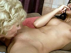 Kinky bitches are kissing passionately starting filthy old young lesbian fuck. Mommy goes down pleasing sizzling chick with her tongue.