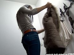 This brunette Czech teen has no idea there's a spy cam in the fitting room. She takes off her clothes and tries on new ones.