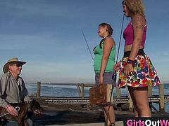 These lovely Australian lesbians go fishing together. When they get back, they starts kissing, undressing and rubbing their hairy cunts while kissing passionately.