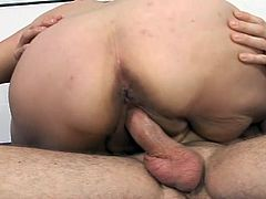 Watch this fat whore, getting stuffed with cock. Yeah, she likes it and after the guy fucked her pussy in sideways, she sucked him hard! The taste and hardness of cock she felt in her slutty mouth, made the bbw even hornier, so she went on top. Her huge fat ass bounced on his dick, with only one intention, to get cum
