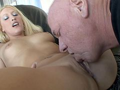 Sunny Day is a sexy blonde babe with a gorgeous face and a hot body. Have a look at this hot clip where this horny old man gets to nail this tender hottie after eating her out.