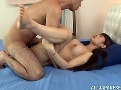 After sucking his cock, Ai Nikaidou was ready to have her tight hairy Japanese pussy fucked hard till her face takes a cumsoht.