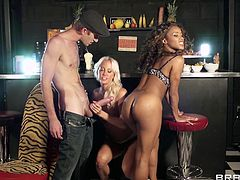 Danny is a very very lucky man! He has the opportunity to fuck two beauties, one is a blonde Czech beauty with milky white skin and a sweet cunt and the other one is a lustful black beautiful whore. He starts by fucking the blonde from behind and then drills that chocolate pussy so hard that she squirts!