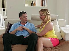 It is such a pleasure to watch this blonde milf putting all of her efforts in pleasing a guy. She's mad for hard cocks and craves to suck this one! The blonde mom kneels with pleasure, opens wide her mouth and sucks the dude like a whore. He grabs her by the head and shovels his cock as deep as possible in her.