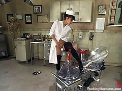 This playful and sizzling nurse Isis Love gets naked at her workplace and runs a fucking machine in her pussy. She also uses some vibrators.