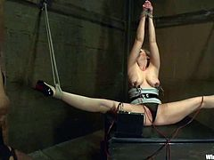 Superb slave girl gets her nipples tortured with claws. Later on she also gets hit with electricity and toyed with a vibrator.