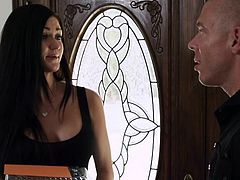 Hot Kendal rings on this dude's door. He hangs around in the house with his friend until the bitch comes in and spice things up! The brunette brought something sweet but nothings sweeter then her kneeling and sucking cock. She gives him head and then lays on her back, spreads her legs and get's pussy licked
