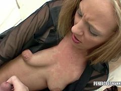Penelope Sky in black panties while she plays with her vibrator and gets covered in cum