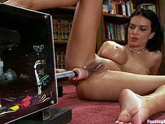 Gorgeous brunette milf Bailey Brooks is having some good time indoors. She demonstrates her beautiful body and then lies down on a couch and gets her holes smashed by a fucking machine.