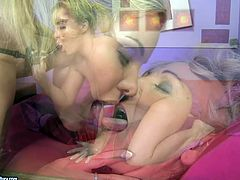 This grannie is so horny that it is really scary. She makes her lesbian friend worship her fake phallus and then she fucks her pussy with strapon.