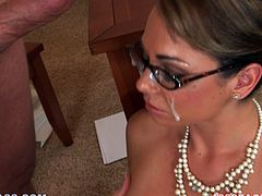 Slutty office chick strips her clothes off and gets her pussy licked. After that she gives skillful blowjob and gets fucked on a table.