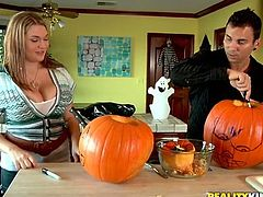 Big breasted blonde chick and some dude prepare for Halloween. After that she takes her clothes off and gets her pussy licked. Then she gets her pink vagina fucked hard and deep.