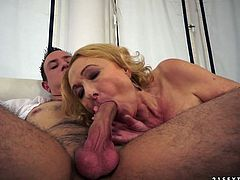 Ruined red-haired fat mature gives a thorough blowjob to hard penis with her teethless mouth before she climbs on it for a ride reverse in steamy sex video by 21 Sextury.