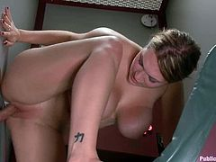 This sassy and horny babe Cassandra Calogera is being tortured in front of the audience. Then she gets belted and fucked in private too.
