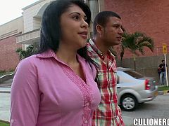 Amazing Latin girl shows her titties in a car. Then she gives a blowjob and gets fucked hared in the house. Kamila also gets her tits cum covered.