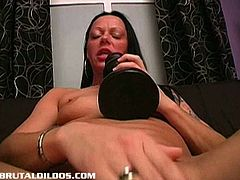 The biggest brutal dildos you have ever seen! Carmen gets her pussy nice and wet and forces two giant brutal dildos in it! See her pussy get filled up by huge dildos.