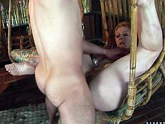 Ample blond mom gets her bearded pussy drilled hard in sideways pose