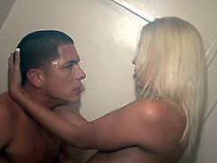 This blonde sexpot is skanky college girl. She is fucking passionately in the bathroom. Horny stud bangs her wet cunt hard in a missionary position and later the couple changes to the doggy style. Their college fellas enter the bath to watch the action. Slutty girl doesn't mind people joining the action.