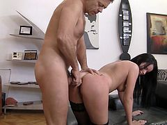 Living porn legend Rocco bangs seductive dark head girl is doggy style position. He stretches her butt hole thrusting meaty cock deep inside the hole.