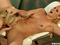 Blonde babes Sabrina Rose and Samantha Ryan are having some good time together. They stroke each other's beautiful bodies and then show their amazing fingering skills to each other.