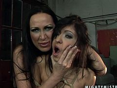 Nasty brunette girls is crazy about submission position in sexual pleasures. This brings her maximum delight and pleasure. Watch her getting tormented by mighty mistress Mandy Bright in kinky BDSM porn clip presented by 21 Sextury.