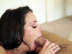The lustful look in her eyes say everything about our superb mommy Veronica. She's an experienced sensual milf with a crave for big hard dicks between her sweet lips. Veronica sucks that penis like it's the most important thing in the world and gags with it until getting cum on her face and that lovely dark hair
