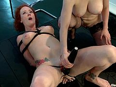 Total lesbian BDSM action at your attention! Sizzling and charming Audrey Hollander unites her skills with Isis Love and they torture two smoking hot sex slaves!