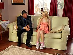 This tiny blonde girl gets her nipples bitten by her step dad after he pushes her down on the couch, and rubs her lips. He rubs her crotch over her panties and makes her nice and moist down there. They love getting dirty together.