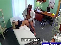 Bogus doctor pussy fucking patient doggy style HD