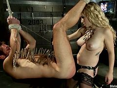 Nasty blonde mistress with big boobs blindfolds Mike de Marko and also stuffs his ass with different bondage devices. Later on she also suffocates his with a plastic bag.