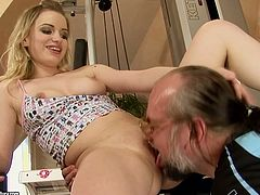 Blonde cutie with perky natural tits and slim sexy body is getting her pussy licked by horny old grandpa. His beard is tickling her while he eats pussy dry. After, old perve enters tight cherry in a missionary position pounding actively.