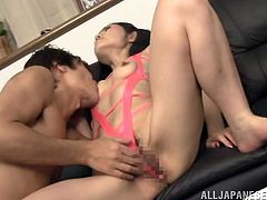 This kinky Asian is wearing slutty pink lingerie for this fuck session where she gets her twat banged to get cum in her mouth and face.