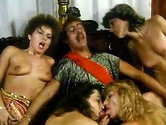 Wild babes are enjoying nasty group sex in superb vintage porn session