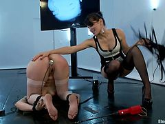 Now that's not a way to treat a lady, but it's sure a way to treat a whore. Bobbi tied her girl Missy and knelt her. She then inserted an electric butt plug and now plays with her ass and mind. The mistress whips her ass and even makes time to shock it with that electric want. Curious for more?