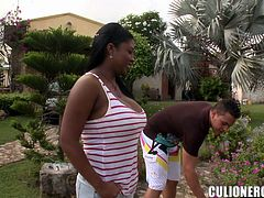Chubby ebony bitch Michelle is having fun with some guy on the poolside. She lets him play with her enormous natural boobs and then they fuck in side-by-side and other positions.