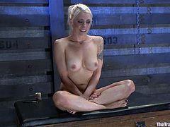 This busty and sensual blond siren Lorelei Lee gets tied up on the device. Her master did not fuck her with his dick, but the penetration with toys was inevitable for her!