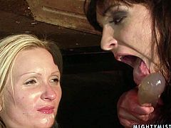 This blonde nymph is told what she is obliged to do with the dildo. She takes the fucking tool first in her mouth and then in her pussy.
