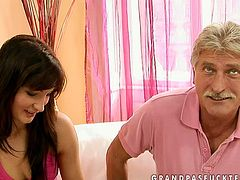 Kinky brunette girl is a fucking gold digger. She doesn't mind fucking rich old men if only they take care of her. Pretty smart young lady is giving stout blowjob to her lover.
