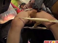 Asian woman is abused by a horn guy in public transport. He starts touching her hairy pussy, and makes her suck his cock. Before you know it, she getting her pussy fucked right there in front of everybody!